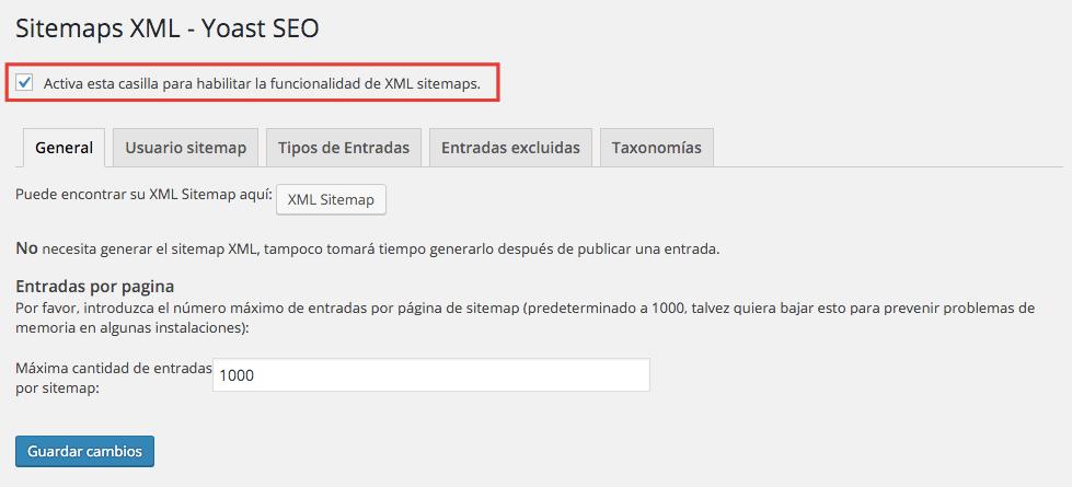 Crear un sitemap en WordPress Activar Sitemap